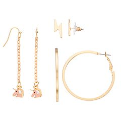 Mudd® Unicorn Drop, Lightning Bolt Stud & Hoop Nickel Free Earring Set