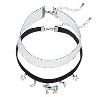Mudd® Unicorn, Crescent & Star Charm Choker Necklace Set