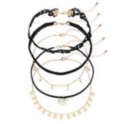 Mudd® Unicorn, Shaky Stone & Floral Lace Choker Necklace Set