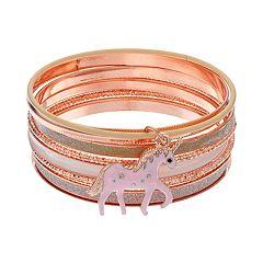 Mudd® Unicorn Charm Bangle Bracelet Set