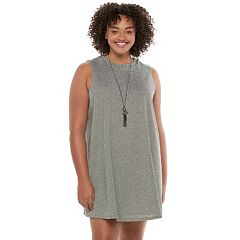 Juniors' Plus Size HeartSoul Necklace Swing Sweater Dress
