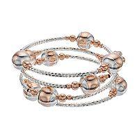Two Tone Beaded Coil Bracelet