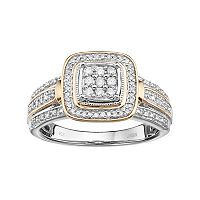 Always Yours Two Tone Sterling Silver 1/4 Carat T.W. Diamond Square Engagement Ring