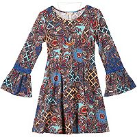 Girls 7-16 Speechless Printed Bell Sleeve Pleated Dress with Necklace