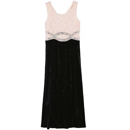 Girls 7-16 & Plus Size Speechless Lace & Velvet Maxi Dress