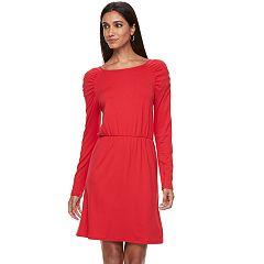 Women's Apt. 9® Shirred Shoulder Fit & Flare Dress