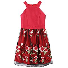 Girls 7-16 Speechless Embroidered Applique Rose Skirt Dress