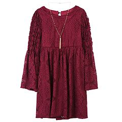 Girls 7-16 Speechless Lace Smocked Sleeve Dress with Necklace