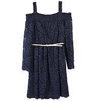 Girls 7-16 Speechless Off Shoulder Lace Belted Dress