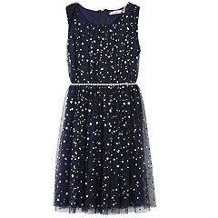Girls 7-16 & Plus Size Speechless Foil Star Belted Dress