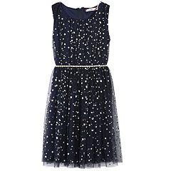 Girls 7-16 & Plus Size Speechless Foil Star Belted Dress