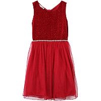 Girls 7-16 & Plus Size Speechless Glitter Bow-Back Dress