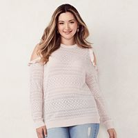 Plus Size LC Lauren Conrad Pointelle Cold-Shoulder Crewneck Sweater