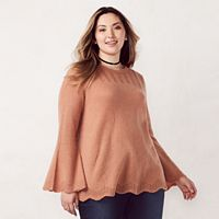 Plus Size LC Lauren Conrad Pointelle Crewneck Sweater