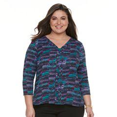 Plus Size Dana Buchman High-Low V-Neck Top