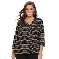 Plus Size Dana Buchman High-Low V-Neck Top