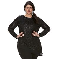 Plus Size Apt. 9® Asymmetrical Lurex Sweater