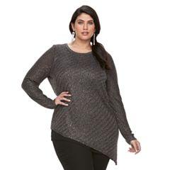 Plus Size Apt. 9® Asymmetrical Lurex Sweater