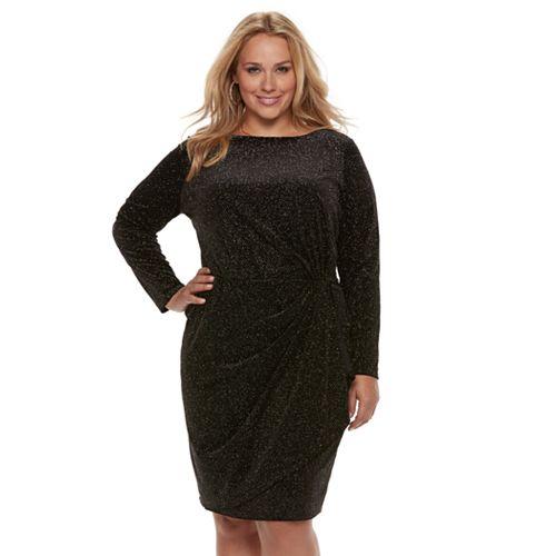Plus Size Jennifer Lopez Glitter Ruched Cascade Dress