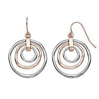 Two Tone Circle Nickel Free Orbital Drop Earrings