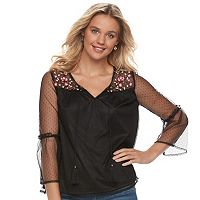 Juniors' Mudd® Embroidered Mesh Bell-Sleeve Peasant Top