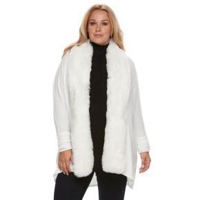 Plus Size Jennifer Lopez Faux-Fur Trim Cardigan