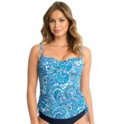 Women's Upstream Paisley Drawstring Underwire Tankini Top