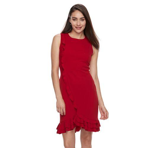 Women's Nina Leonard Ruffle Hem Sheath Dress