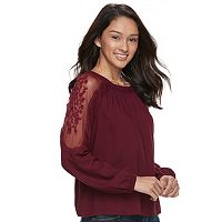 Juniors' Mudd® Lace Cold-Shoulder Top