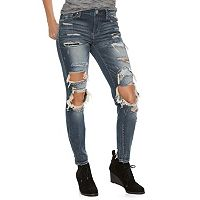 Juniors' Almost Famous Ripped Patched Skinny Jeans