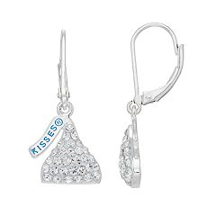 Sterling Silver Crystal Hershey's Kiss Drop Earrings