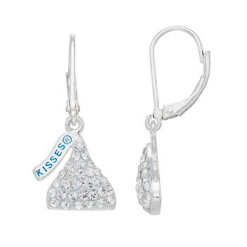 Sterling Silver Crystal Hershey's Kiss Drop Earrings