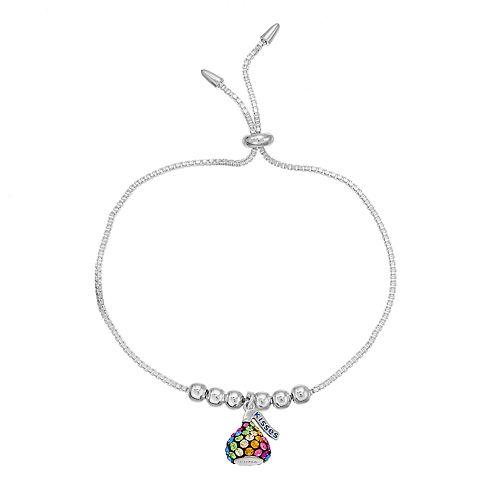 Sterling Silver Rainbow Crystal Hershey's Kiss Bolo Bracelet