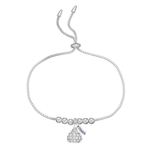 Sterling Silver Crystal Hershey's Kiss Bolo Bracelet