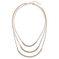 Glittery Curved Bar Multi Strand Necklace