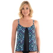 Women's Upstream Geometric Flounce Underwire Tankini Top