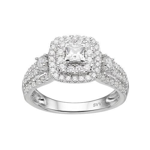 Simply Vera Vera Wang 14k White Gold 1 Carat T.W. Diamond Square Halo Engagement Ring