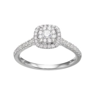 Simply Vera Vera Wang 14k White Gold 1/2 Carat T.W. Diamond Square Halo Engagement Ring