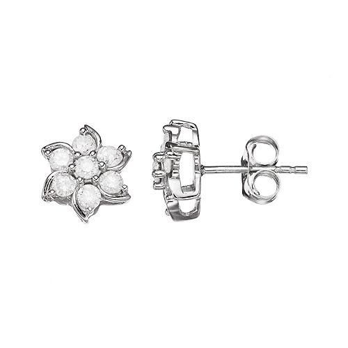 10k White Gold 1/2 Carat T.W. Diamond Flower Stud Earrings