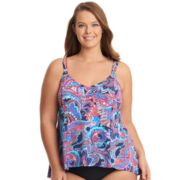 Plus Size Upstream Paisley Flounce Tankini Top
