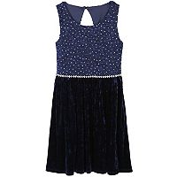 Girls 7-16 Speechless Rhinestone & Velvet Dress