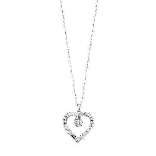 Sterling Silver 1/10 Carat T.W. Diamond Open Heart Pendant Necklace
