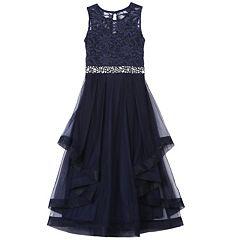 Girls 7-16 Speechless Tiered Ruffle Lace Dress