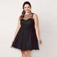 Plus Size LC Lauren Conrad Flocked Tulle Fit & Flare Dress