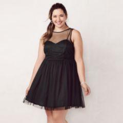 Plus Size LC Lauren Conrad Flocked Tulle Fit & Flare Dress