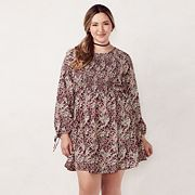 Plus Size LC Lauren Conrad Smocked Fit & Flare Dress