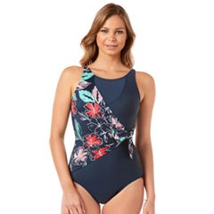 Women's Upstream Waist Minimizer Floral Overlap Swimsuit