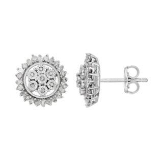 Sterling Silver 1/2 Carat T.W. Diamond Cluster Earrings