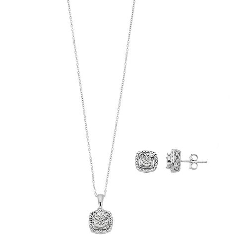 Sterling Silver Diamond Accent Cushion Pendant & Stud Earring Set