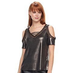 Women's Rock & Republic® Liquid Shine Cold Shoulder Top